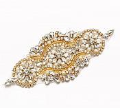 "Crystal Rhinestone Gold Pearl Beaded Applique 6.75"" (GB627)"