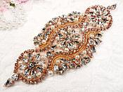"REDUCED Crystal Rhinestone Rose Gold Pearl Beaded Applique 6.75"" (RMGB627)"