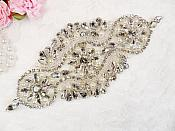 "( Reserved for Karen ) Crystal Rhinestone Silver Pearl Beaded Applique 6.5"" (GB627)"