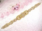 "Gold Bridal Sash Applique w/ Beads and Pearls Surrounding Crystal Rhinestones 18.5"" (GB628)"