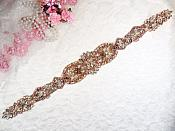 "Rose Gold Bridal Sash Applique w/ Beads and Pearls Surrounding Crystal Rhinestones 18.5"" (GB628)"