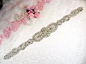 "Silver Bridal Sash Applique w/ Beads and Pearls Surrounding Crystal Rhinestones 18.5"" (GB628)"