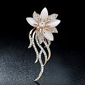 Rose Gold Metal Crystal Rhinestone Brooch Floral Flower Pin (GB629)