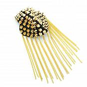 Shoulder Epaulet Applique Beaded Punk Gold Spikes Black Body with Pins GB63