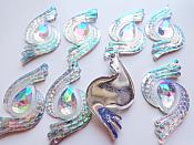 "(Reduced Set of 20 Pcs.) Acrylic Teardrop Aurora Borealis Embellishment 1.75"" GB634"