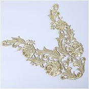 "Embroidered Appliques Metallic Gold Mirror Pair Venice Lace 10.5"" (GB635X)"