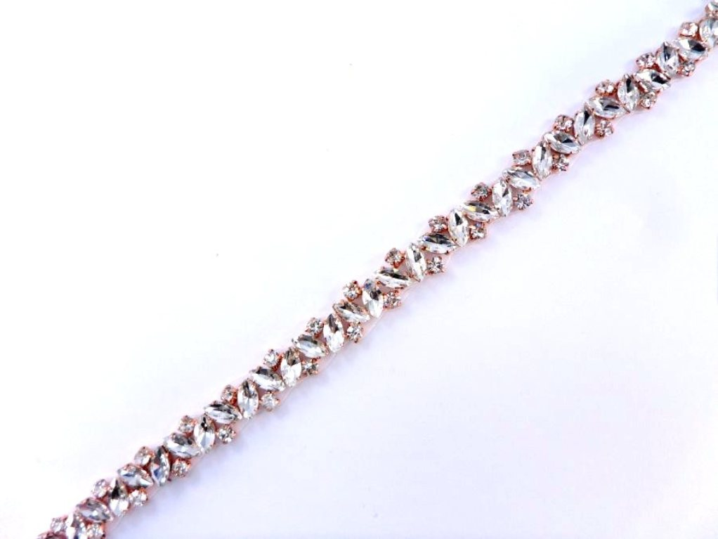 "Pre-Cut 37"" Crystal Rhinestone Rose setting Bridal Trim GB639"