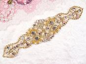 "Crystal Rhinestone Gold Pearl Beaded Applique 8"" (GB640)"