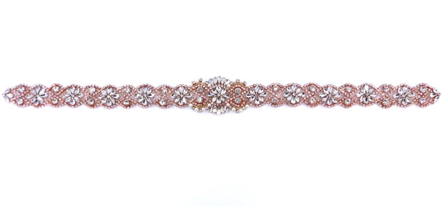 "Bridal Sash Applique Rose Gold Beaded with Crystal Rhinestones and Pearls 22"" GB641"