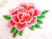 "Floral Pink Embroidered Flower Applique Iron On Patch 3.5"" (GB642)"
