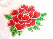"Floral Red Embroidered Flower Applique Iron On Patch 3.5"" (GB642)"