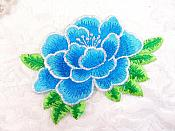 "Floral Turquoise Embroidered Flower Applique Iron On Patch 3.5"" (GB642)"