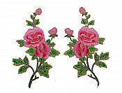 "Floral Appliques Embroidered Mirror Pair Pink Hot Pink Flower Iron On Motifs 9"" (GB644X)"