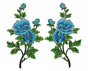 "Floral Appliques Embroidered Mirror Pair Turquoise Flower Iron On Motifs 9"" (GB644X)"