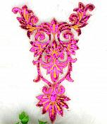 "Extra Large Fuchsia Gold Bodice Yoke Embroidered Sequin Applique Motif 16"" (GB645)"