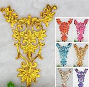 "Extra Large Gold Bodice Yoke Embroidered Sequin Applique Motif 16"" (GB645)"