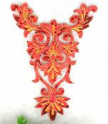 "Extra Large Red Gold Bodice Yoke Embroidered Sequin Applique Motif 16"" (GB645)"