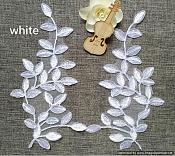 OSGB647 (RIGHT SIDE ONLY) Applique Leaf Vine White Embroidered Venice Lace 9.5""