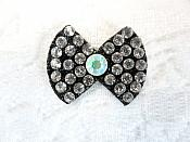 "Rhinestone Applique Bow Crystal Crystal AB w/ Black Backing .75"" (GB648)"