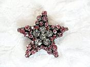 "Rhinestone Applique Star Pink Crystal w/ Black Backing 1.5"" (GB651)"