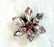 "Rhinestone Applique Pink Ice Crystal Flower w/ Black Backing 1"" (GB654)"