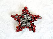 "Rhinestone Applique Star Red Crystal w/ Black Backing 1.5"" (GB655)"