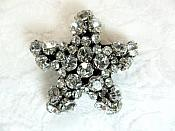 "Rhinestone Applique Star Crystal w/ Black Backing 1.75"" (GB656)"