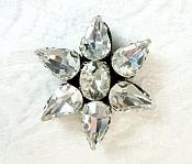 """Rhinestone Applique Flower Crystal w/ Black Backing 1"""" (GB657)"""