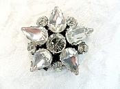 """Rhinestone Applique Star Crystal w/ Black Backing 1.25"""" (GB658)"""