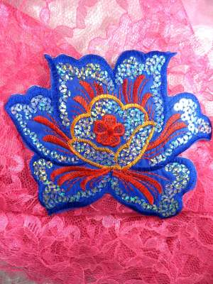 GB66 Blue Red Embroidered Flower Silver AB Sequin Applique 6.5""