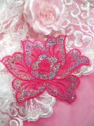 GB66 Fuchsia Embroidered Flower Silver AB Sequin Applique 6.5""