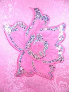 GB66 Pink Embroidered Flower Silver AB Sequin Applique 6.5""