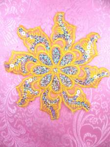 GB119 Yellow Embroidered Flower Silver AB Sequin Applique 5.25""