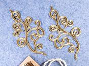 "Embroidered Appliques Metallic Gold Mirror Pair Venice Lace 7"" (GB661X)"
