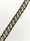 """White Antique and Silver Beaded Sewing and Craft Trim w/ Black Fabric Backing 3/8"""" (GB664)"""