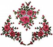 Set of 3 Large 3D Embroidered Appliques Rose Floral Clusters Sewing Patch (GB667)