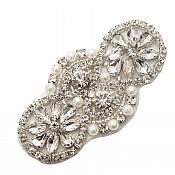 "Silver Applique Beaded w/ Crystal Rhinestones and Pearls 3.25"" GB725"