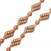 Pre Cut One Yard Length Crystal Rhinestone Trim Rose Gold Beaded GB726