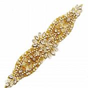"Gold Bridal Sash Applique w/ Marquise Rhinestones Beads and Pearls 8.25"" GB729"