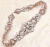 "Rose Gold Applique Clear Glass Rhinestones Wedding Gown Belt Designs 18"" GB731"