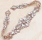 "Rose Gold Applique w/ Opal Glass Rhinestones Wedding Gown Belt Designs 18"" GB731"