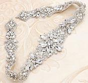 """Silver Applique w/ Crystal Clear Glass Rhinestones Wedding Gown Belt Designs 18"""" GB731"""