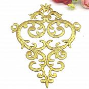 """Embroidered Applique Gold Metallic Designer Scroll Motif Iron on Patch 5.5"""" GB732"""