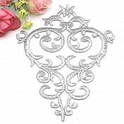 "Embroidered Applique Silver Metallic Designer Scroll Motif Iron on Patch 5.5"" GB732"