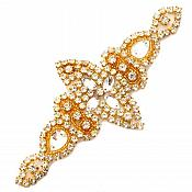 "Gold Beaded Applique Crystal Rhinestones Gold Settings Bridal Bling Patch 6"" GB739"