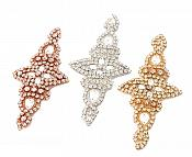 """Rose Gold Applique Beaded Crystal Rhinestones Rose Gold Settings Bridal Bling Patch 6"""" GB739"""