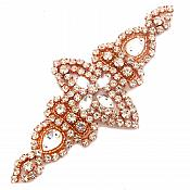 "Rose Gold Applique Beaded Crystal Rhinestones Rose Gold Settings Bridal Bling Patch 6"" GB739"
