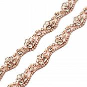 "Pre-Cut at 36"" Wavy Crystal Rhinestone Rose Gold setting White Pearl Bridal Trim Marquise Teardrop Stones GB740"