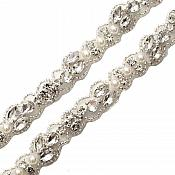 "Pre-Cut 36"" Crystal Rhinestone Silver setting White Pearl Bridal Trim Marquise Teardrop Stones Beaded Edge Finished Ends GB742"