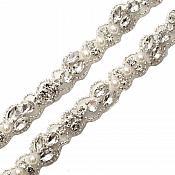 "Pre-Cut 36"" Crystal Rhinestone Silver setting White Pearl Bridal Trim Marquise Teardrop Stones Beaded Edge Finished Ends GB742"